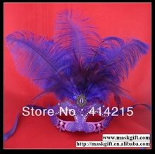 Free Shipping 100% Handpainted Solid Purple Venetian Style Rhinestone Feather Plastic Mask For Ball
