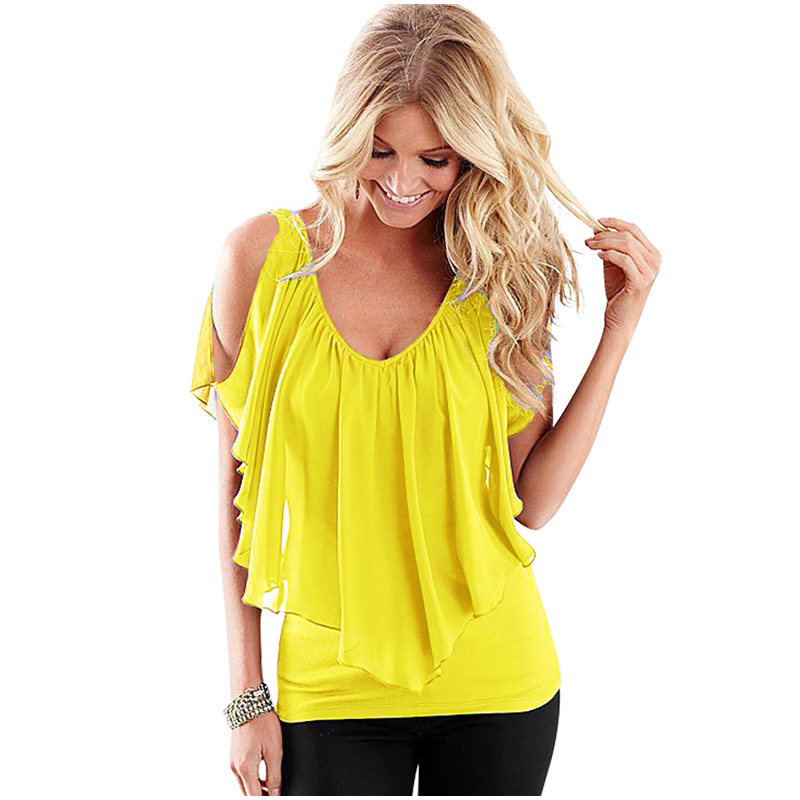 28380c9e459 Ruiyige 2018 Summer Plus Size T Shirt Casual Women Tops Chiffon Patchwork  Deep V Clothing Female Solid Pleated Ladies Work Top
