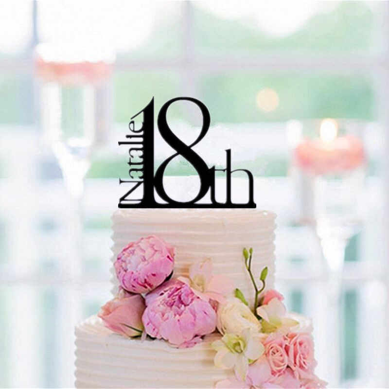Detail Feedback Questions About Personalized Elegant 18th Birthday Cake Topper Decorating Accessory Black Acrylic On Aliexpress