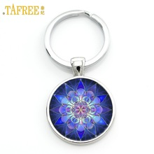 TAFREE Glass Gem Key Chains Yoga Mandala Blue Picture Key Holder Handmade summer jewelry Keychain bijoux car key ring M35-51