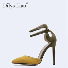 Dilys Liao Brand Name Sexy Black Black Yellow Patchwork Party Dress Pointed Toe Stiletto High Heels Shoes Sandals Woman Pumps 40(China)