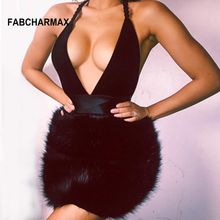 Buy FABCHARMAX night club deep v halter party dress women fluffy fur sexy black dress backless bodycon short dresses clubwear 2018
