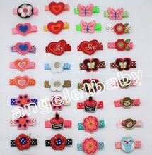 100pcs 2015 Latest Cute Mini Felt Hair Clips  Girl Hair bow fancy work Cupcake/rabbit/owl/monkeys Hair Accessorie HD3356