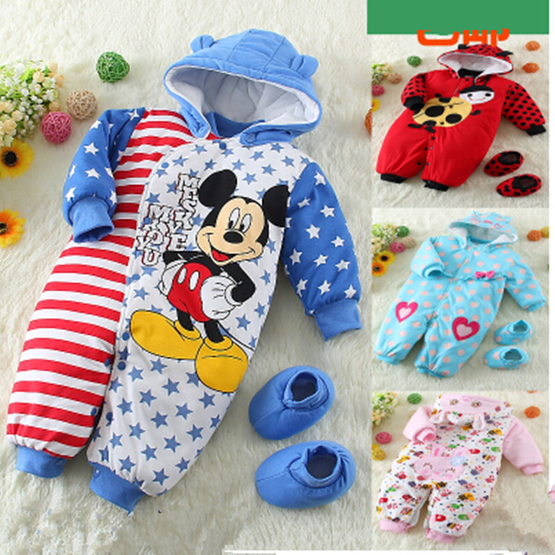 2017 Warm Newborn Baby one piece Romper 100% Cotton Thickening Wadded Jacket Baby Winter Rompers with Shoes 3M-6M-9M-12M<br><br>Aliexpress