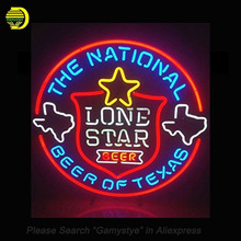 Lone Star Neon Sign National Beer Of Texas Glass Tubes Recreation Room Neon Signboard Handcraft Beer Bar Pub Iconic Sign 24x20(China)