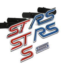 S ST RS Chrome Metal Refitting Styling Car Emblem Badge Auto Exterior Decal 3D Sticker Grille Emblem for FORD Focus Mondeo