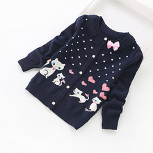 2016 new children cardigans girls' lovely cotton sweaters 3-16 years fashion cotton cardigan 8518