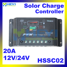 Over-load and short circuit protection Power Intelligent Controller HSSC02 12V / 24V 20A 133*70*31mm Solar Charge Controller(China)