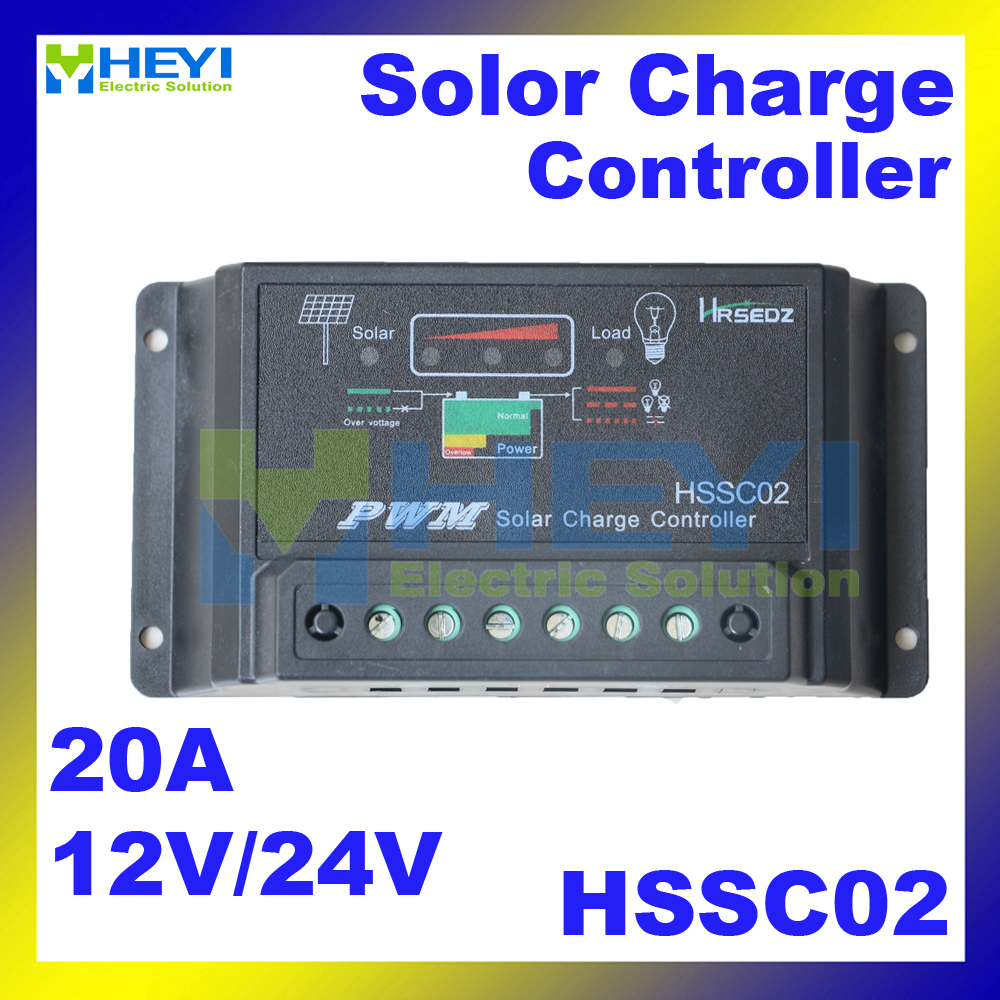 Over-load and short circuit protection Power Intelligent Controller HSSC02 12V / 24V 20A 133*70*31mm Solar Charge Controller(China (Mainland))