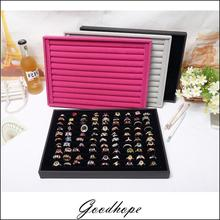 Professional Wood Jewelry Display Stands Vitrine Ring Showed Tray Holder for Rings Showcase Velvet Bague Bijoux Organizer Box