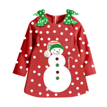 New Santa Xmas Gift Baby Girl Dress Long Sleeve Winter Kids Dresses For Girls Party Wear Toddler Baby Happy Christmas Costume(China)