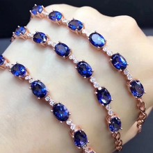 Fidelity natural 5*7mm dark blue topaz Bracelet s925 sterling silver fashion fine jewelry for women party natural gemstone(China)