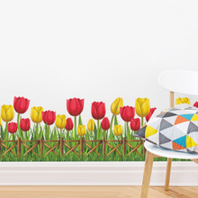 Red And Yellow Tulip Wall Sticker Mural Removable Waterproof Decorative Wall Corner Decals Kid's Living Room Bathroom Decoration(China)