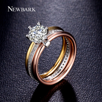 NEWBARK De Fiançailles De Mariage Infinity Anneau D'empilage Trois Rond De Luxe 7mm Grand 1.25ct CZ Coloré 6 Prong Bijoux Femme Top qualité