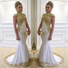 2017 New Gold High Neck Dubai Vestidos De Fiesta Prom Dresses Aso Ebi Gold Lace Appliques Beaded Cap Sleeves Party Gowns E38