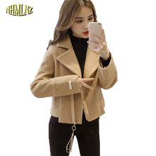 Women Autumn Winter Woolen coat Korean style Comfortable Warm Jacket Turn-down Collar Wool Cape Outerwear Fashion Jacket WKM509(China)