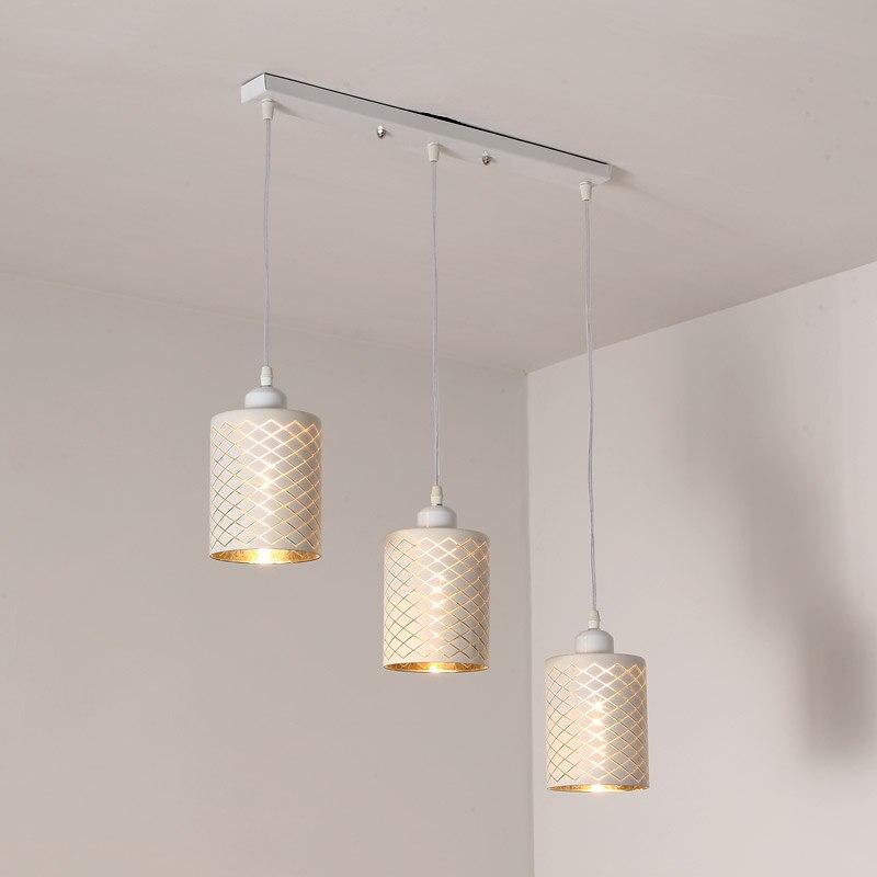 Dinning Room Kitchen Lamp Modern Hanging Pendant Light E27 Led bulb Gift Back White Wrounght Iron Decor Home Lighting 110-220V<br>