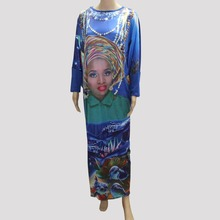 Tilapia 2017 people and shark print big women summer dress wholesale price african style clothing lot stocks(China)