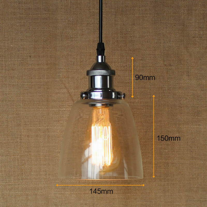 LOFT Industrial clear glass shade Pendant Lamp with Edison /LED Light bulb for coffee shop bar dining room E27<br>