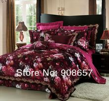 violet red flower pattern luxurious queen size bedding set 10 pcs bed in a bag set Quilted Jacquard Satin duvet covers