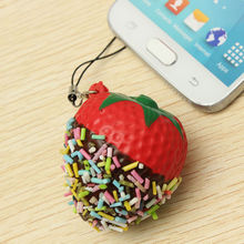 Squeeze Kawaii Chocolate Covered Strawberry Design Phone Chain Squishy Key Chain Bread Mobile Phone Straps Decor P25