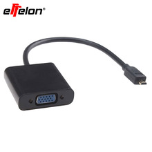 Effelon Black & White Micro HDMI Male to VGA Female Video Output Adapter Cable for PS3/DVD/TV
