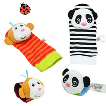 4pcs/lot New Style Baby Rattles Mobile Toys Wrist Rattle and Foot Socks For 0-12 Month infant toys playgro