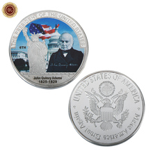 WR Commemorative Colored 6th President Coin Customized John Quincy Adams Challenge Metal Coin Quality 999 24k Silver Coin(China)