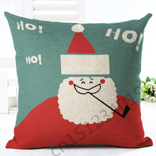 2016 New 45x45 High Quality Catioon Style Christmas Home Decor Chair Cushion Throw Pillow Cojines Almofadas Cotton Linen Square(China)