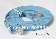 Free Shipping 5pcs/lot 2M CAT6 RJ45 cable Flat UTP 10/100/1000Mbps Ethernet Network Cable For PC Router DSL Modem