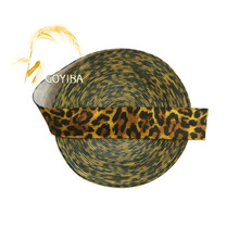 "GOYIBA 5 Yard 5/8"" 1.5cm Yellow Leopard Print FOE Fold Over Elastics Spandex Satin Bands Kids Hair Tie Headband DIY Sewing Trims"