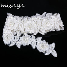 Misaya 1yard White Embroidery Lace Sequin Fabric With Pearl Jacquard Ribbon Lace Fabric,DIY Sun Flower Manual Wedding Lace Trim(China)