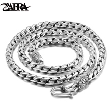 ZABRA Solid 925 Sterling Silver 5mm 55cm Vintage Long Chain Necklaces for Men Steampunk Retro Rock Fashion Men Sterling Jewelry(China)