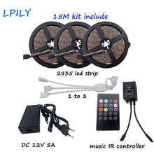 LPILY RGB LED Strip SMD 2835 15M rgb led tape with 20 keys music ir remote controller 12V 5A Power Adapter Flexible decoration(China)