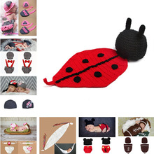 Retail Ladybug Designs Crochet Baby Photo Props Infant Costume Outfits New Born Crochet Beanies Hats Clothes 1set MZS-14001(China)