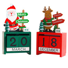 Merry Christmas Wooden Calendar Santa Claus/Reindeer model Wood cube number DIY Calendars Craft desk decoration Indicator Board