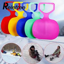 Relefree Outdoor Winter Plastic Skiing Boards Sled Luge Snow Grass Sand Board Sledge Ski Pad Snowboard For Kids/Adult(China)