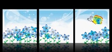 3 Panel  Hot Sell Modern Wall Painting Home Decorative Art Picture Paint on Canvas Prints Crystal like daffodils and butterfly