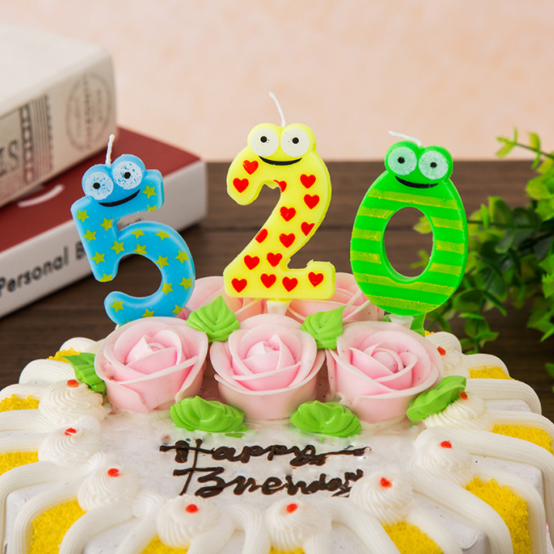 1 Pcs Set Cartoon Frog Birthday Candles Number Cake Cupcake Topper Party Candle