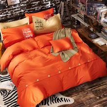 selling four sets of pure  American 100%cotton fashion bedding section Larry button special bed set besheet offer wholesale