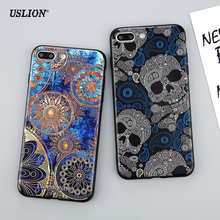 USLION Phone Case For iPhone 7 6 6s Plus Fashion Retro Style Flower Skull Cases Soft TPU Back Cover Capa Coque For iPhone7 Plus