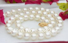 "Natural AAA 9-10MM WHITE AKOYA PEARL NECKLACE 18""(China)"