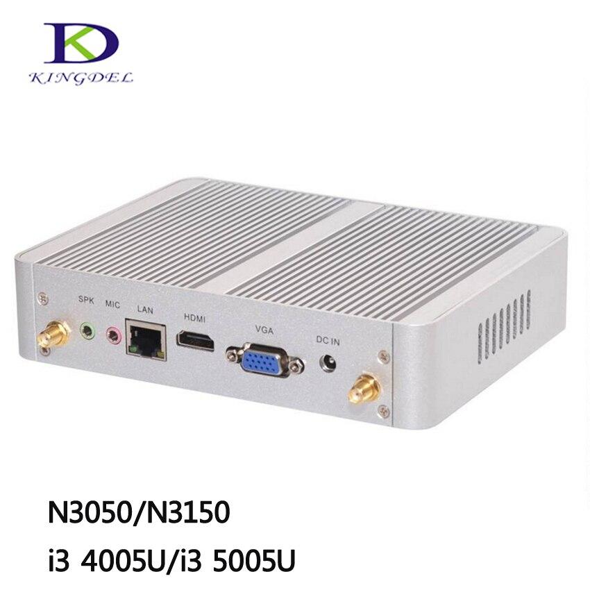 Cheapest i5 i3 Broadwell Fanless Mini PC Windows 10 Barebone Computer Intel Core  i3 4005U i3 5005U 2GHz 4K HTPC wifi HDMI VGA<br><br>Aliexpress