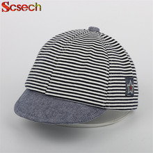 New Summer Cotton Baby Hats Cute Casual Striped Soft Eaves Baseball Cap Baby Boy Beret Baby Girls Sun Hat for 3M-2T SKM13