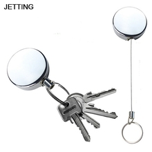 Pull Key Security Chain Retractable Metal Card Badge Holder Steel Recoil Ring Belt Clip Reel ID Lanyard Name Tag Badge Holder