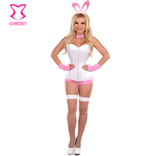 Adult Role Play White/Pink Easter Bunny Costume Rabbit Uniform Cosplay Halloween Costumes For Women Sexy Costume Erotic Lingerie