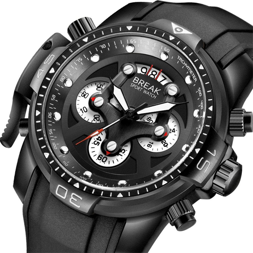 BREAK Chronograph Army Waterproof Mens Quartz Watches with Luxury Gifts Box Unique Fashion Rubber Band Sport Watches<br>