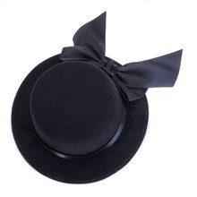 Ladies Hat Fascinator Burlesque Millinery w/ Bowknot - Black