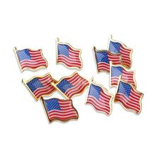 10PCS/Lot  American Flag Independence Day Lapel Pin United States USA Hat Tie Tack Badge Pin Party Decoration Supplies