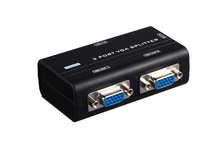 2 Port VGA Splitter 250MHz HD 1920X1440 KVM Switch Video Signal Monitor Amplifier Black 30 Meters Stackable